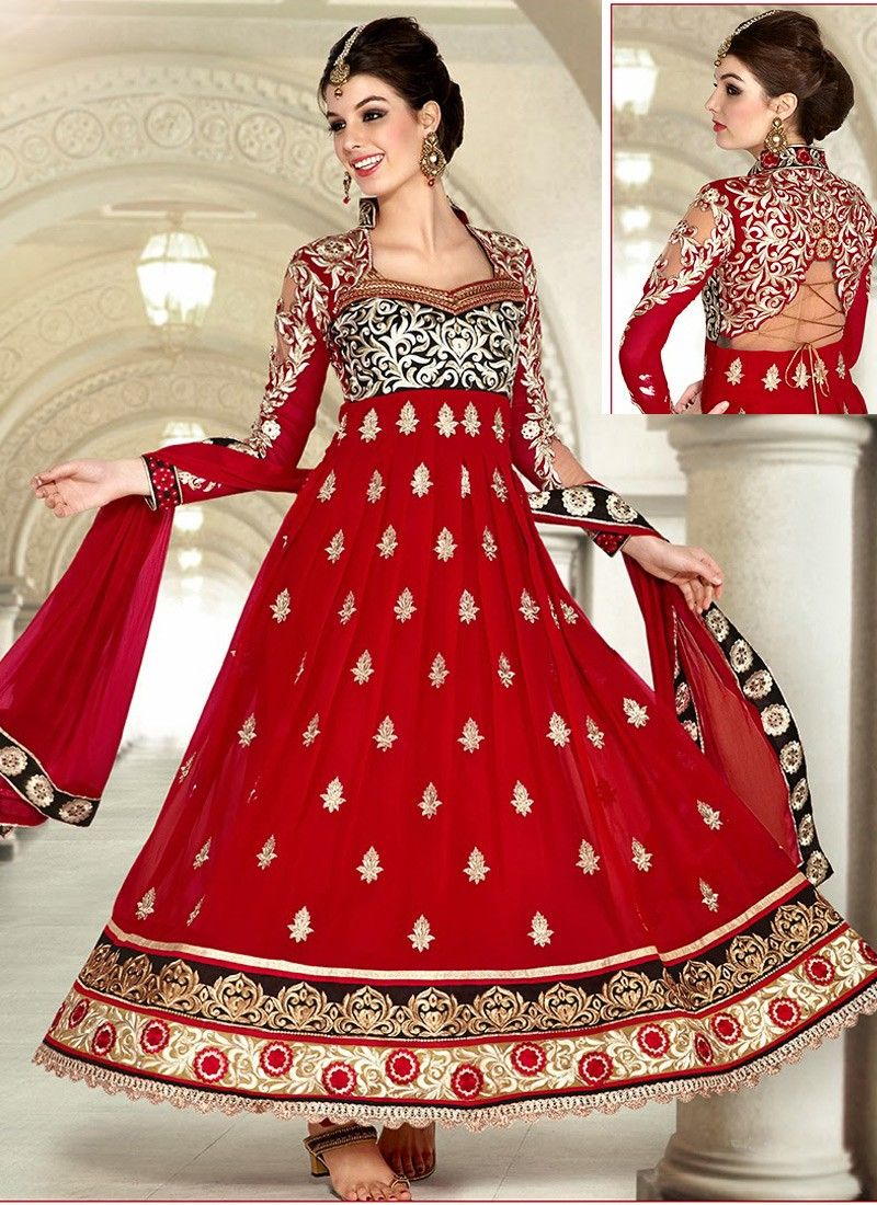 Maroon Faux Georgette Anarkali Suit