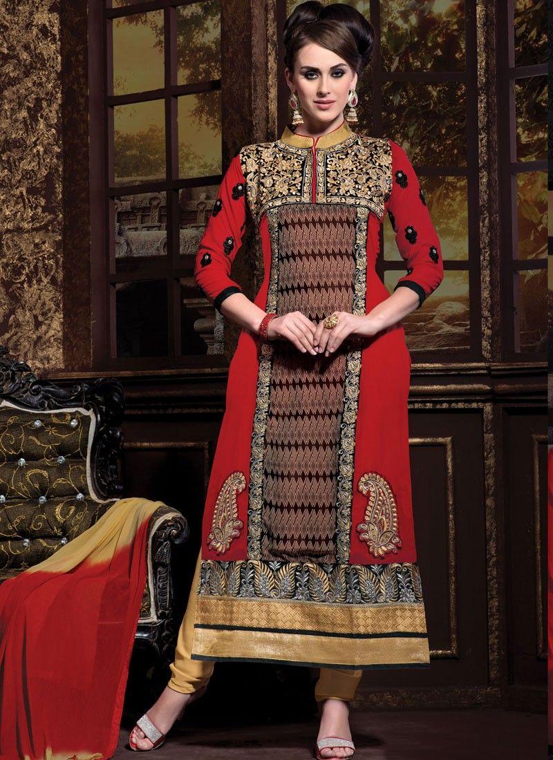 Maroon Georgette Churidar Suit