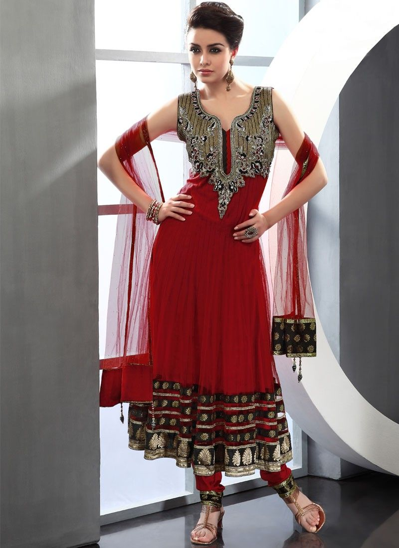 Maroon Net Anarkali Suit