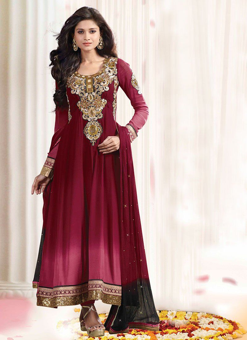 Maroon Sequins Work Georgette Anarkali Suit