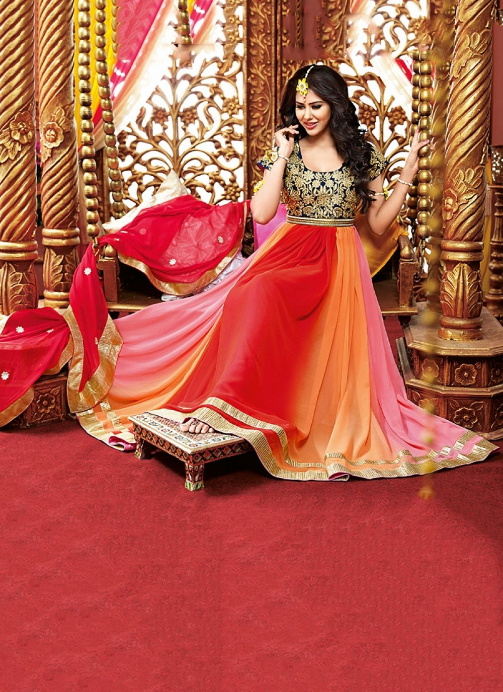 Multi Color Patch Border Work Georgette Anarkali Suit