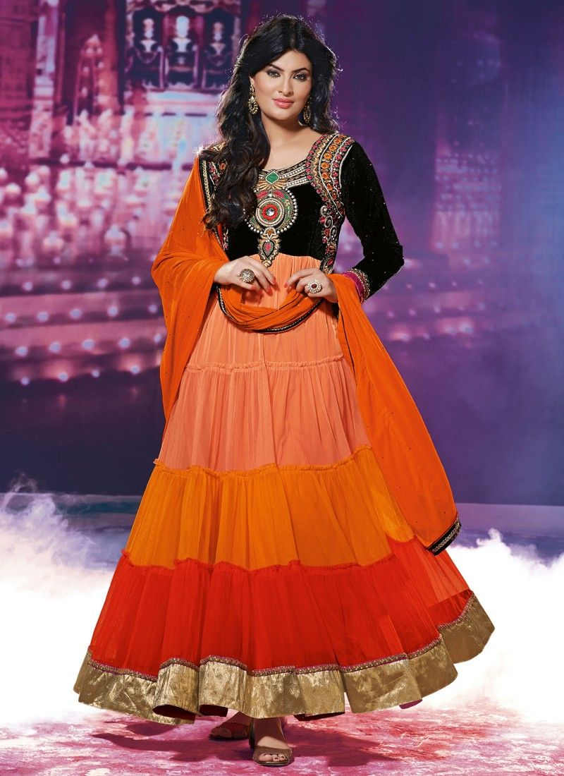 Multicolor Embroidery Work Anarkali Salwar Suit