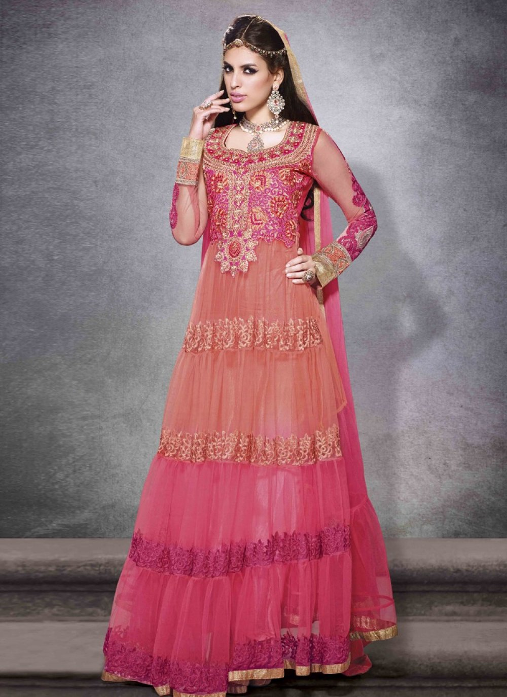 Ayesha Takia Multicolor Resham Work Net Anarkali Salwar Suit