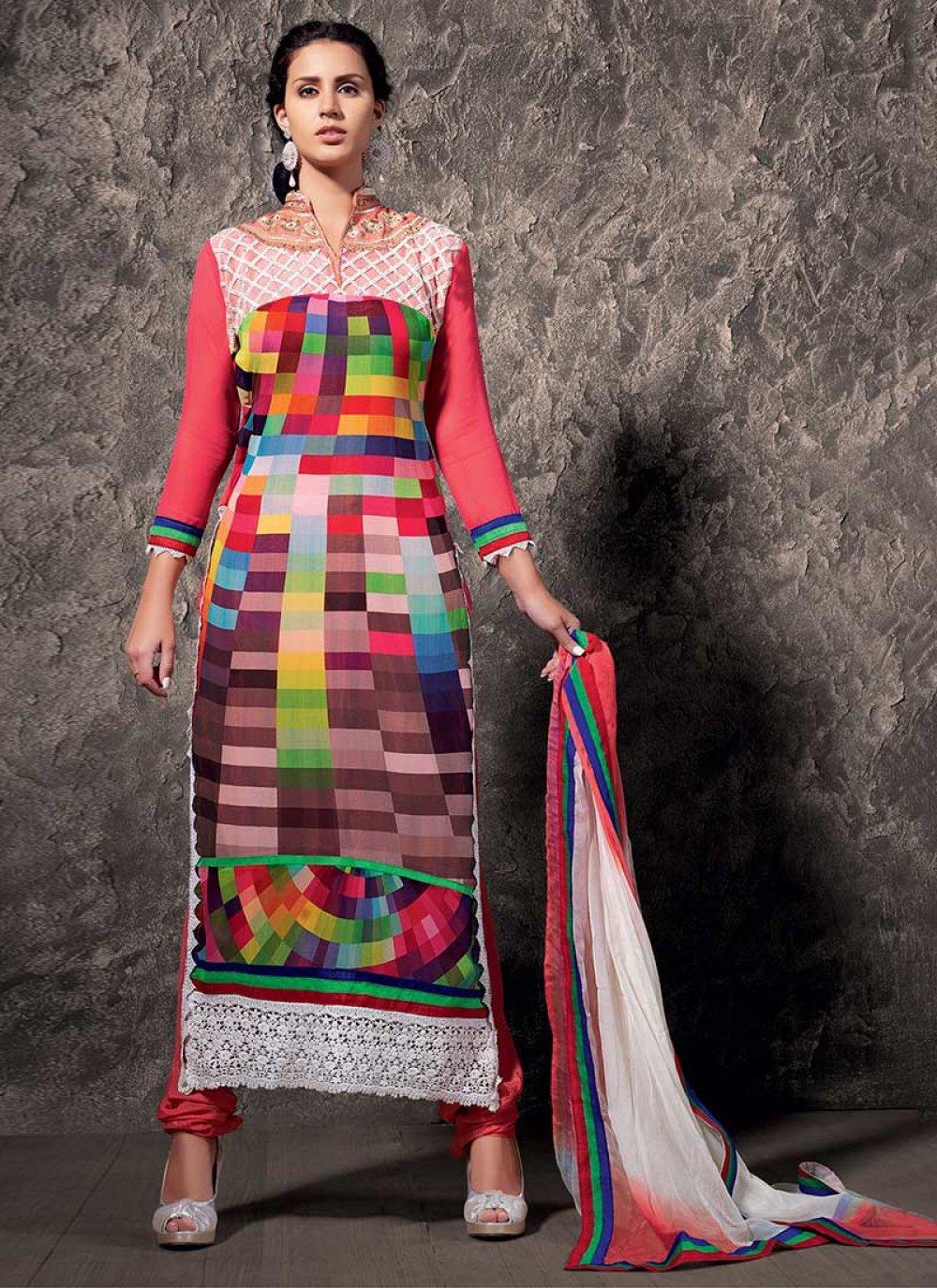 Multicolored Faux Georgette Churidar Suit