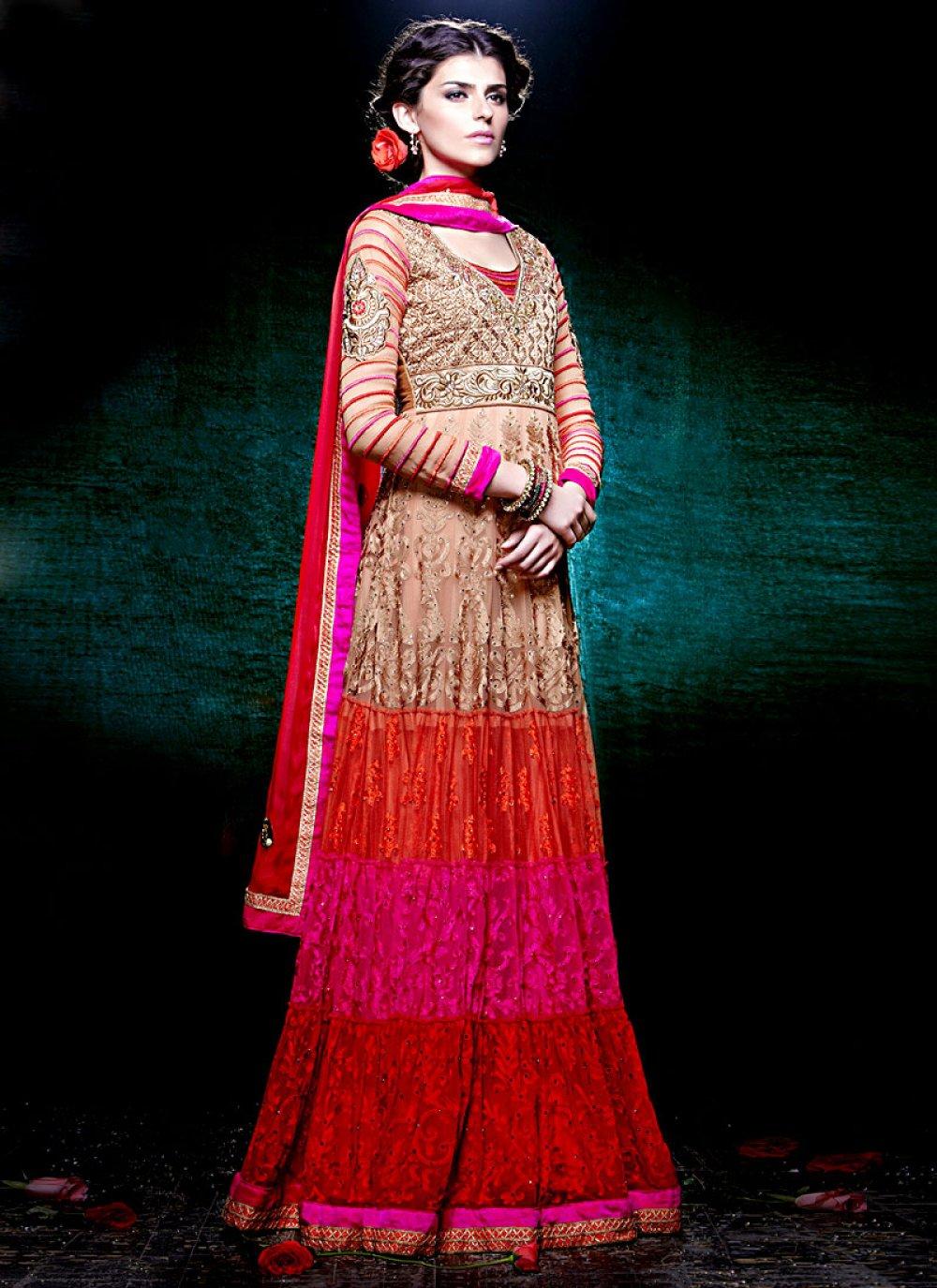 Multicolored Floor Length Net Pakistani Suit
