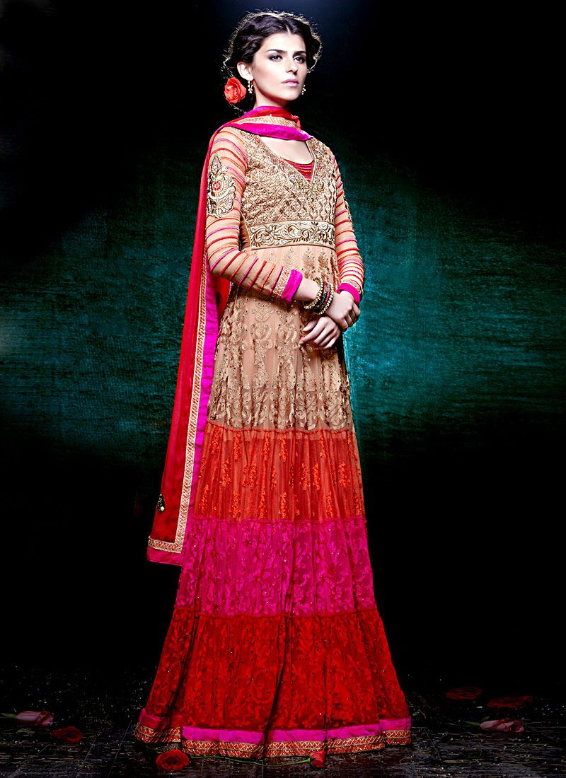 Multicolored Floor Length Net Pakistani Suit