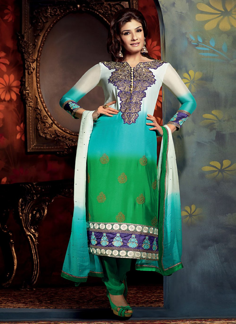 Multicolored Georgette Churidar Suit