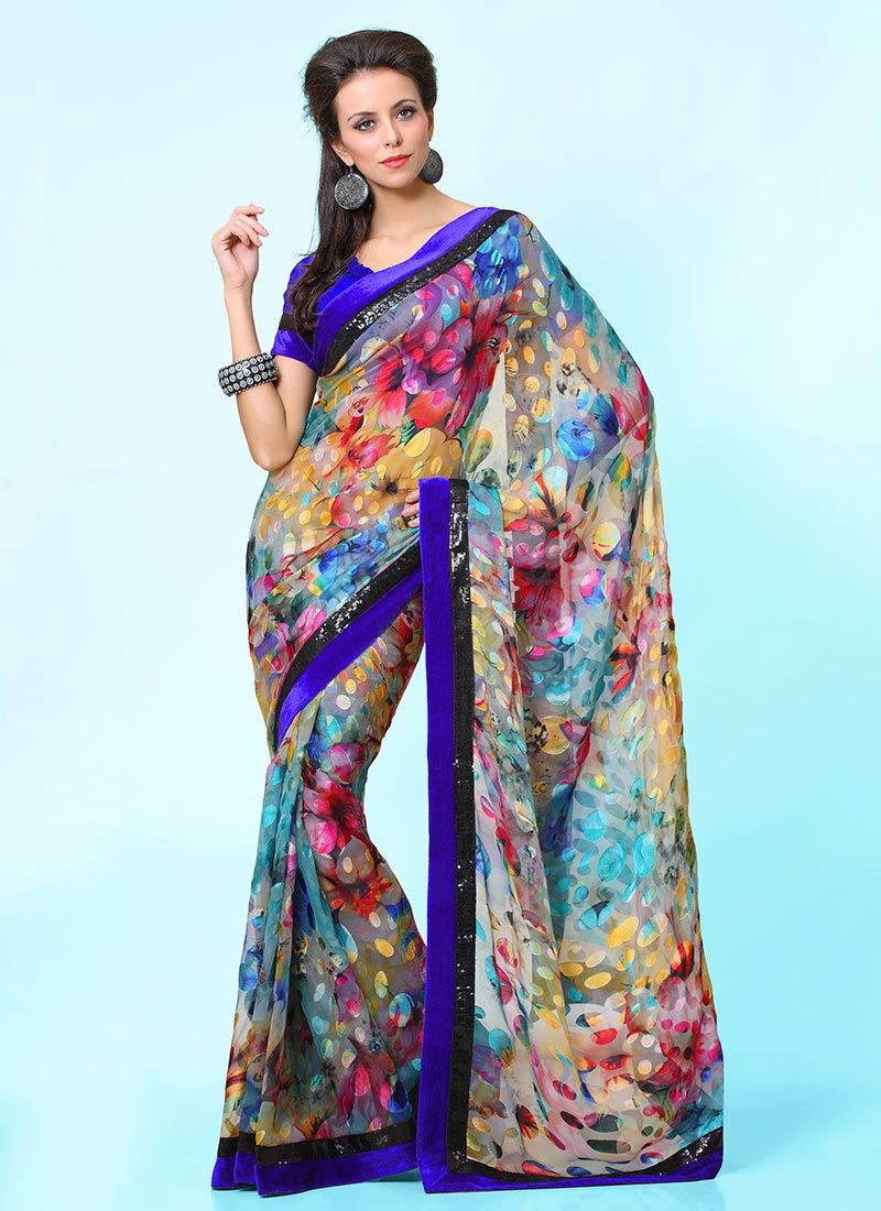 Multicolored Printed Brasso Saree