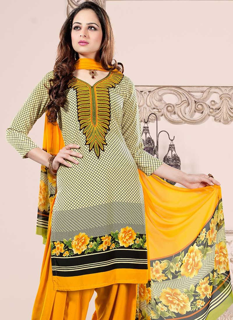 Mustard And Cream Faux Crepe Patiala Suit