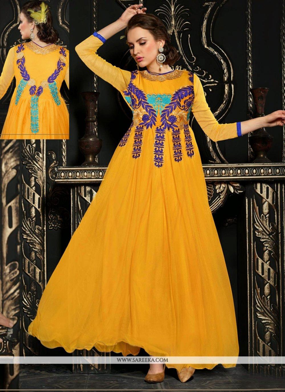 Mustard Net Anarkali Salwar Suit