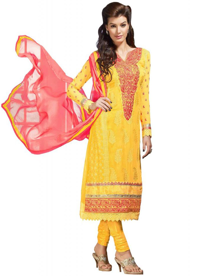 Mustard Resham Work Faux Georgette Churidar Suit