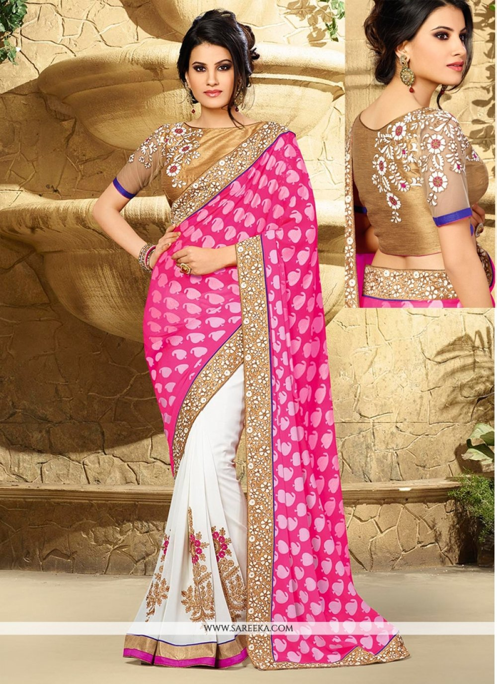 Off White And Pink Georgette Designer Saree