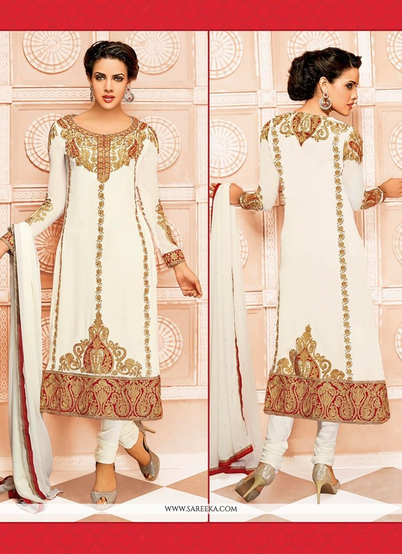 Off White Embroidery Work Churidar Salwar Suit