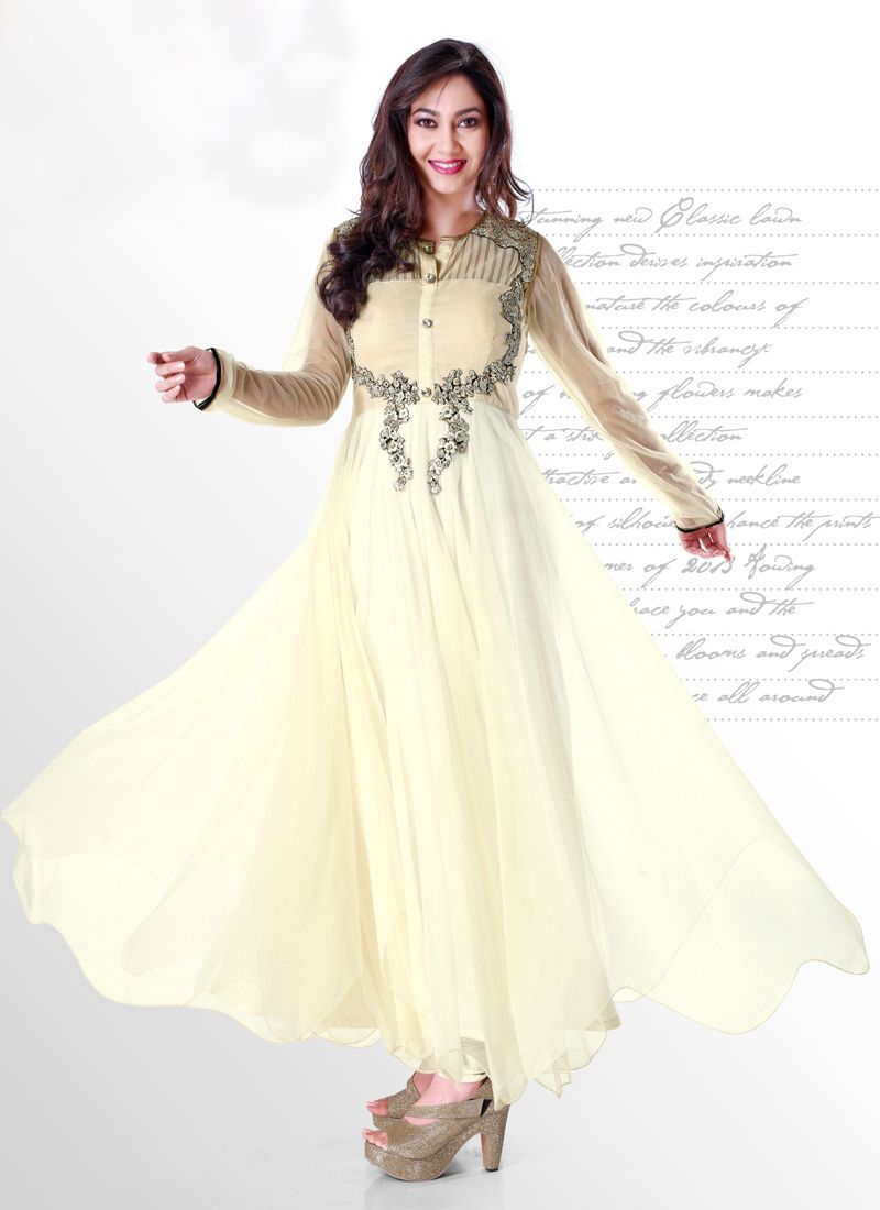 Off White Net Anarkali Salwar Suit