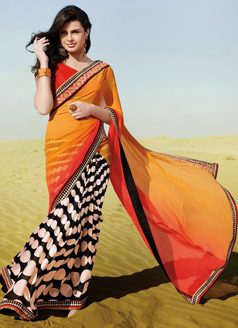 Orange And Black Shaded Georgette Printed Saree