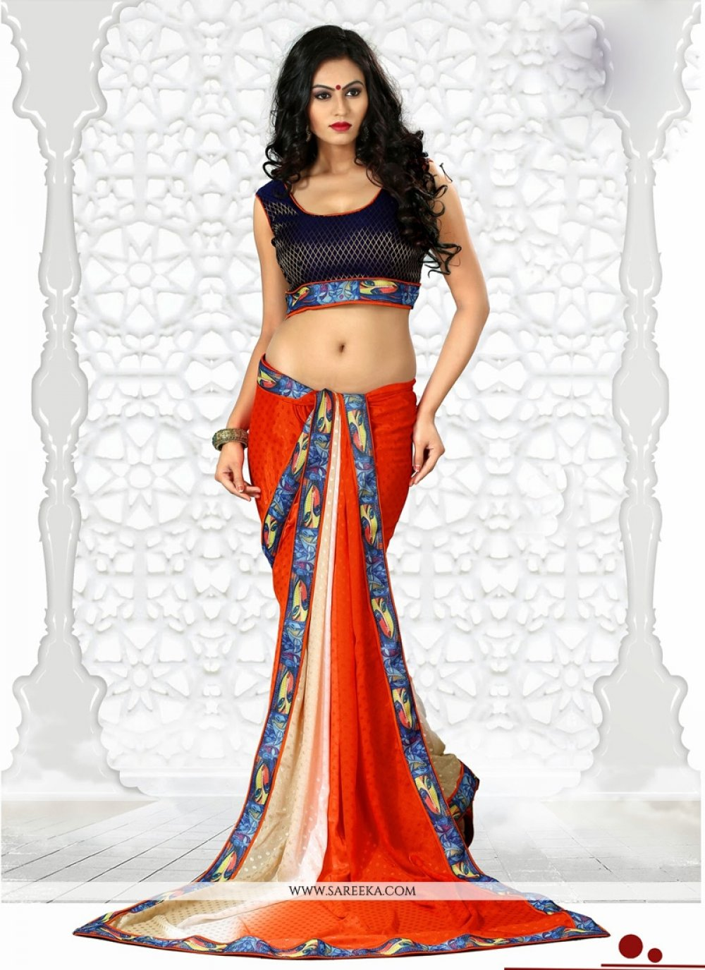 Orange Chiffon Jacquard Saree
