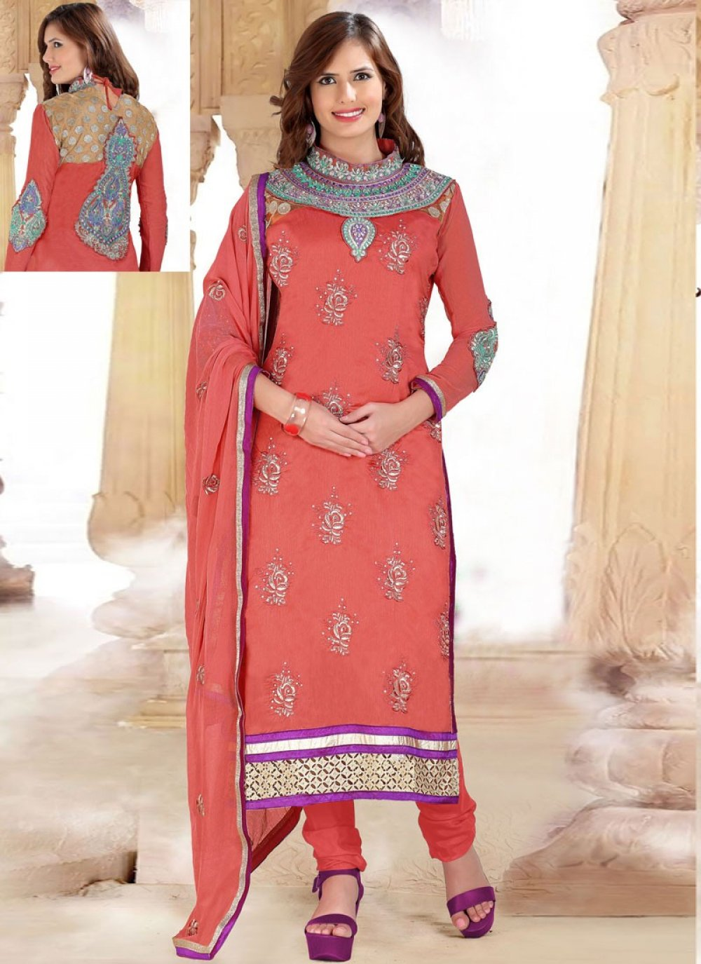 Orange Cotton And Net Churidar Suit
