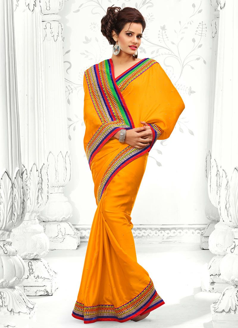 Orange Crystal Work Chiffon Saree