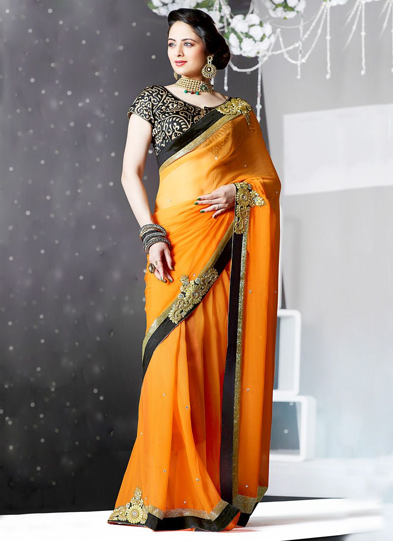 Orange Faux Georgette Embroidered Saree