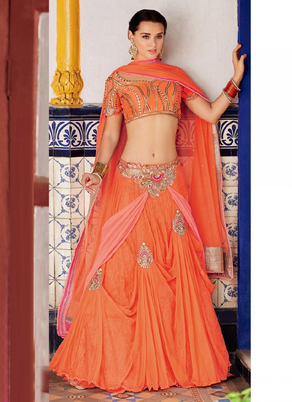 Orange Net Designer Lehenga Choli
