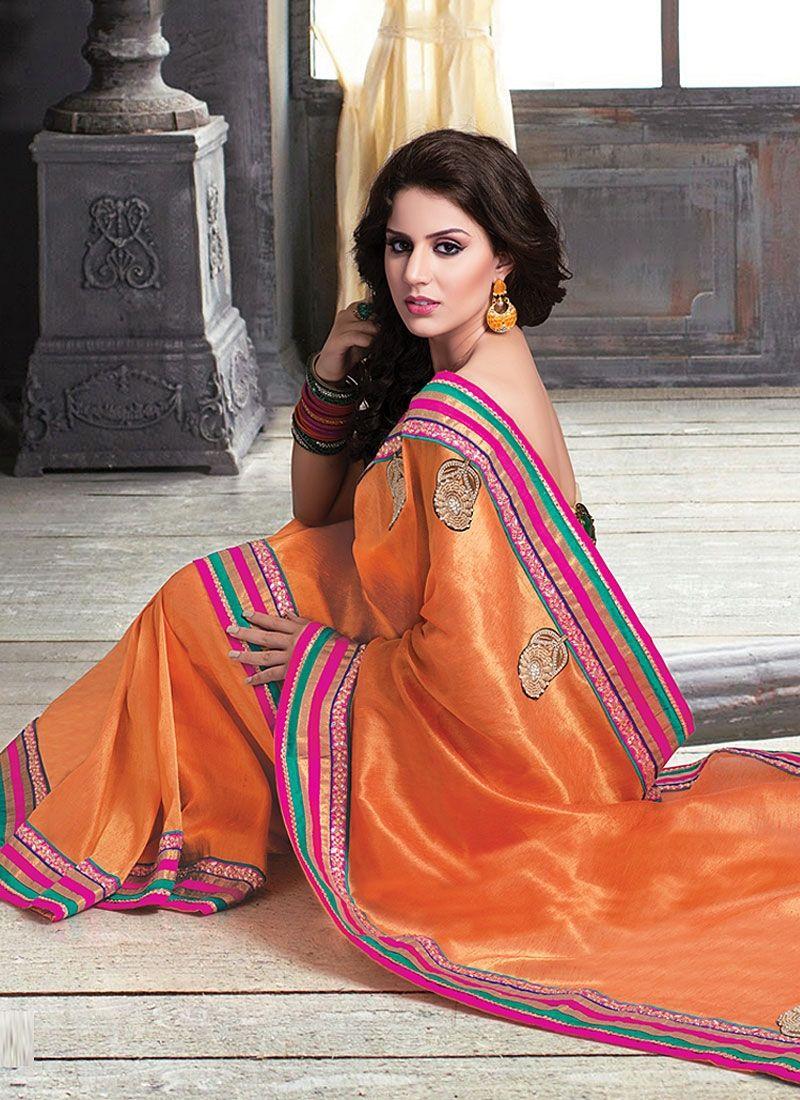 Orange Pure Jute Saree