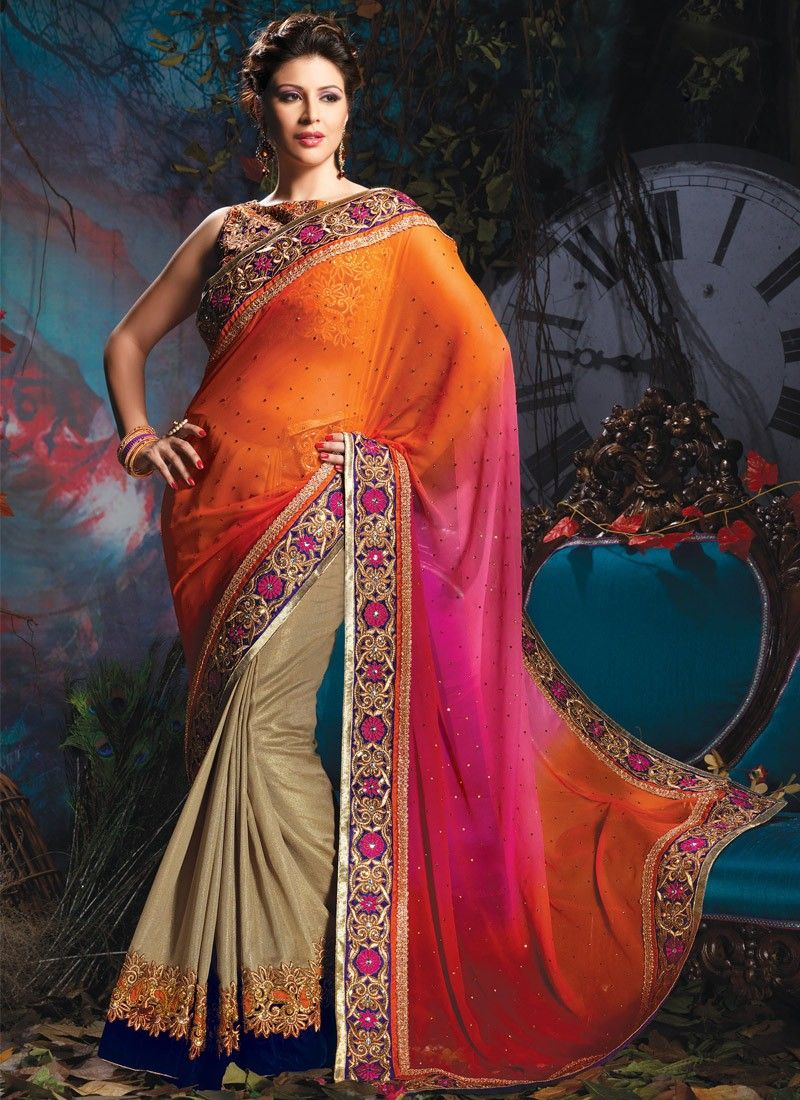 Orange Resham Work Half And Half Saree
