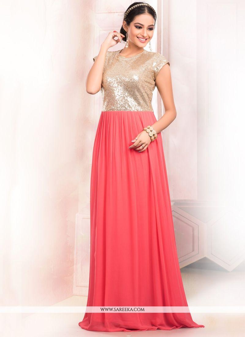 Peach Floor Length Gown