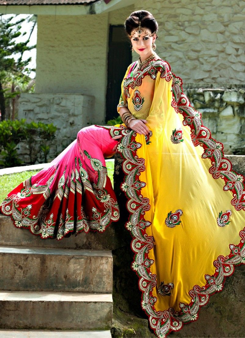 Pink And Yellow Georgette Embroidered Lehenga Saree