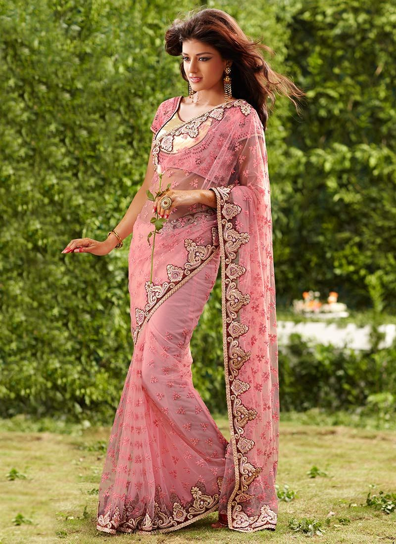 Pink Resham Embroidered Net Saree