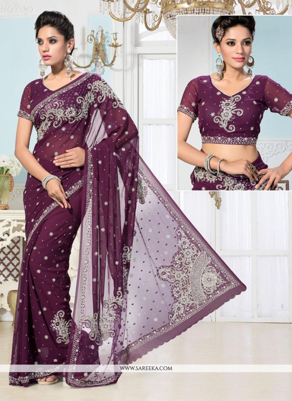 Purple Color Georgette Designer Saree