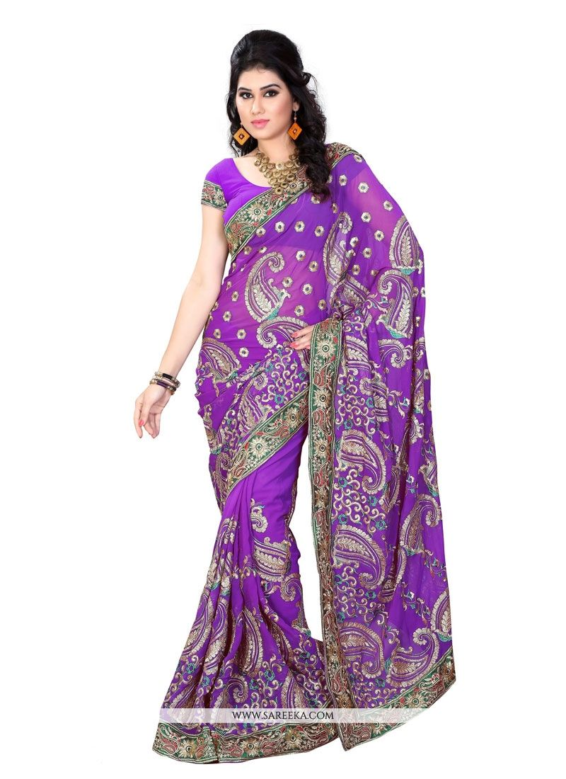 Purple Embroidered Work Designer Saree