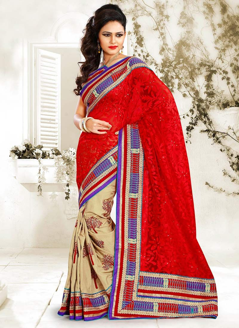 Red And Beige Silk Half And Half Saree