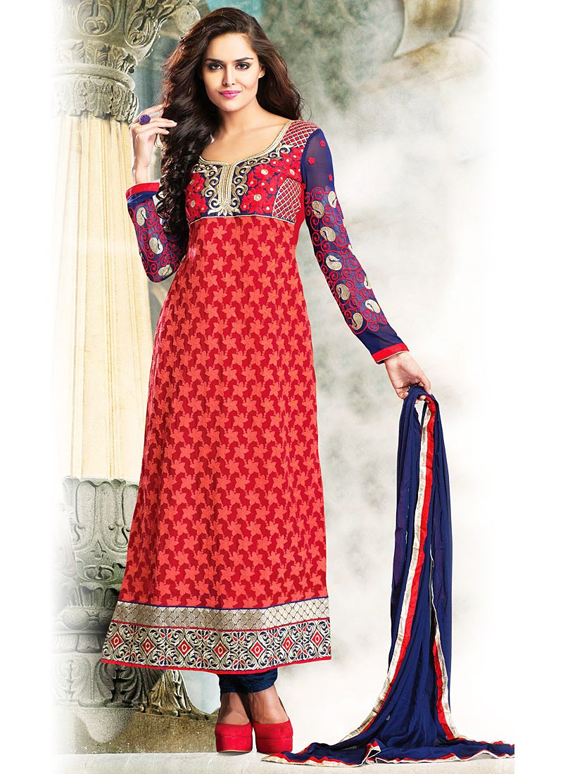 Red And Blue Resham Work Georgette Anarkali Suit