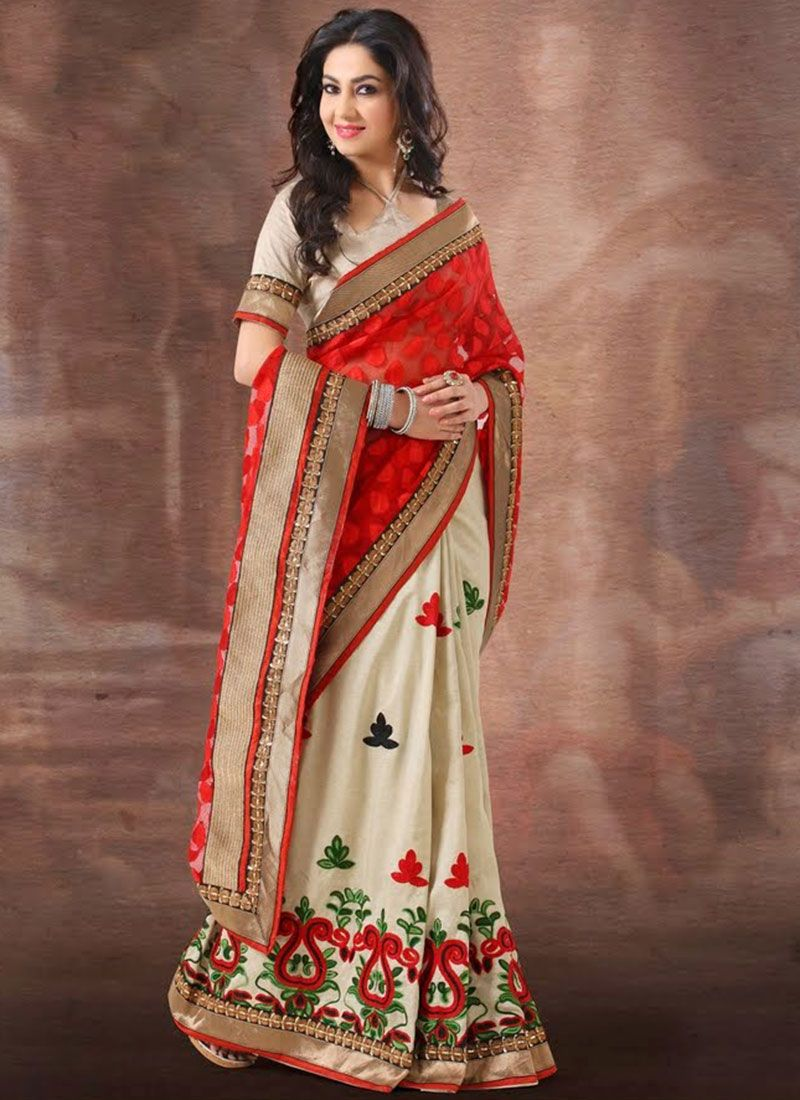 Red And Off White Art Silk Half And Half Saree