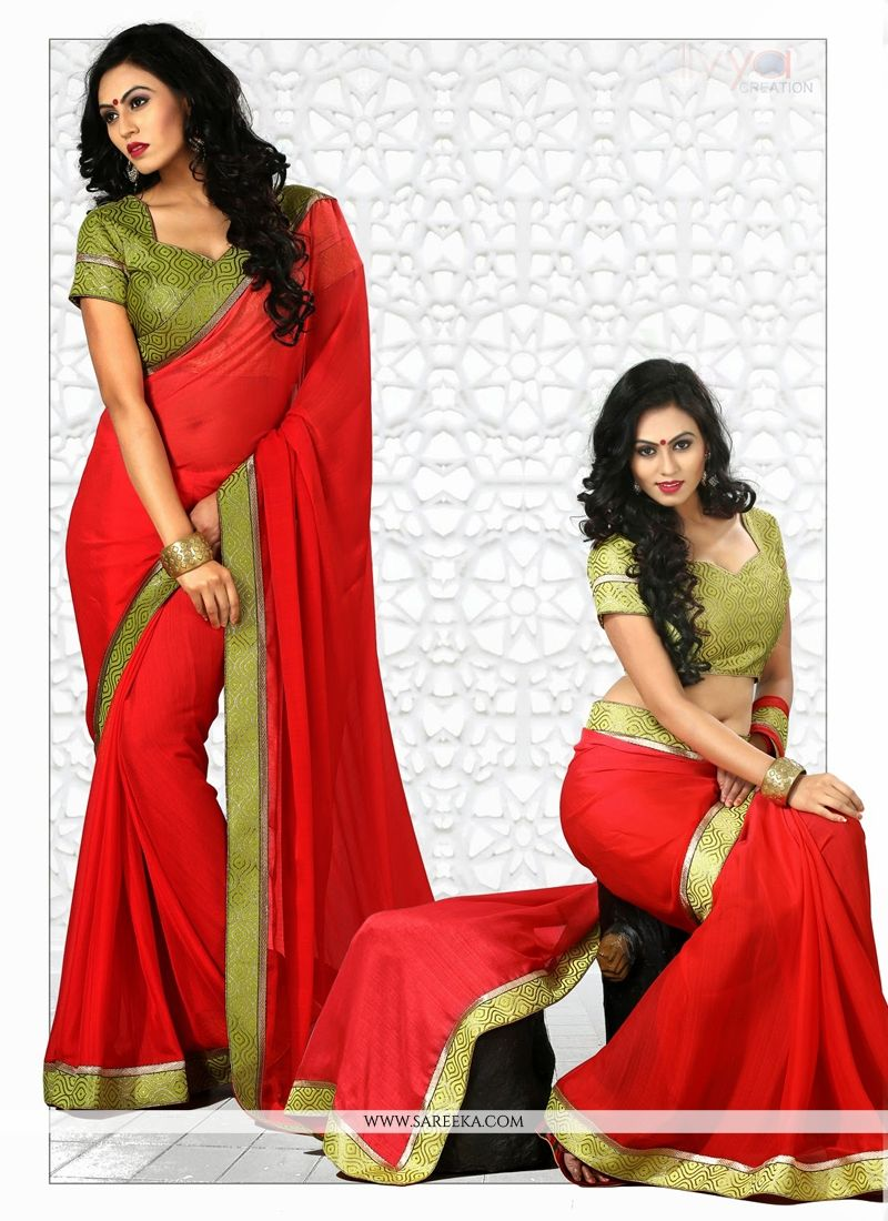 Red Chiffon Casual Saree