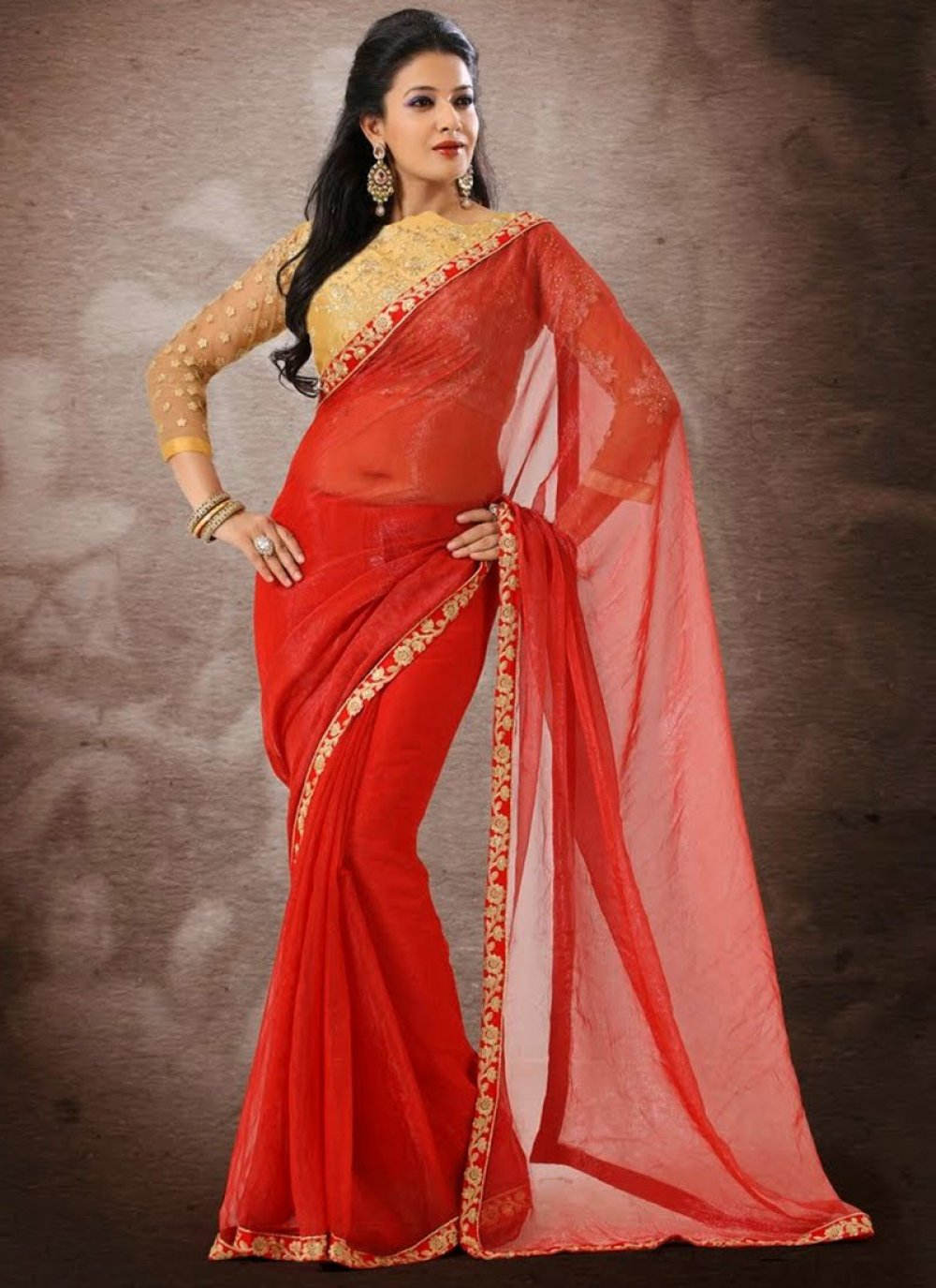 Red Embroidery Work Faux Georgette Saree