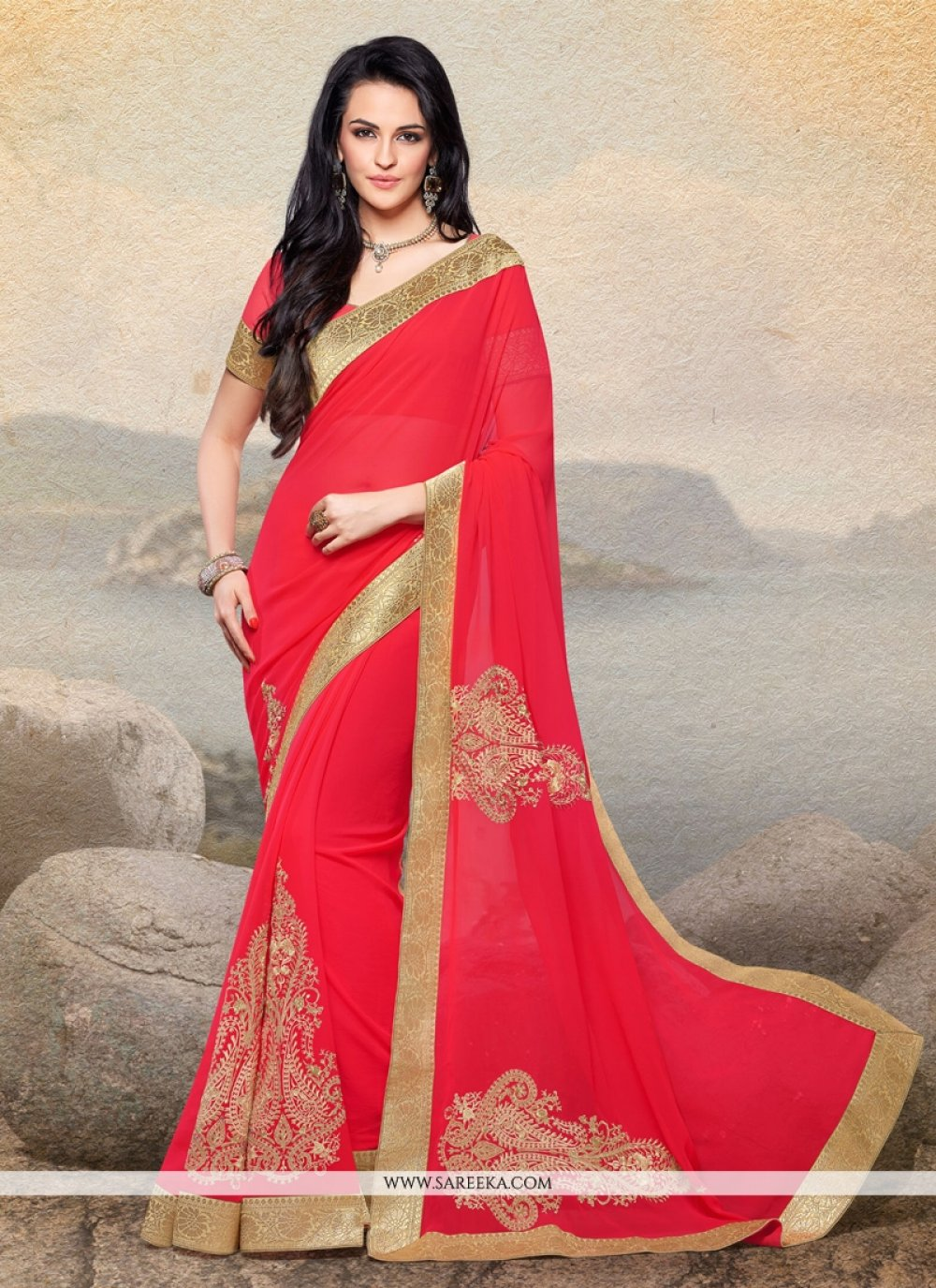 Red Faux Chiffon Designer Saree