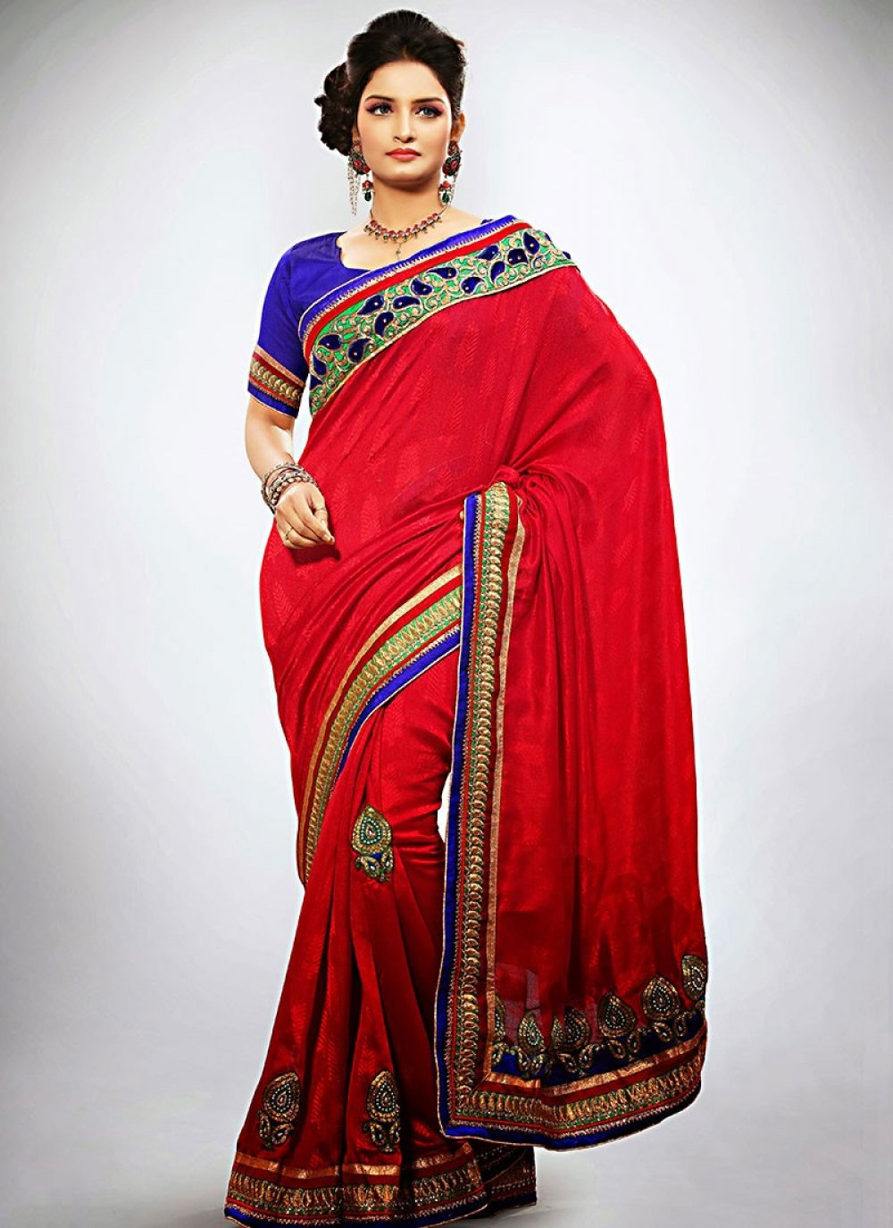 Red Jacquard Casual Saree