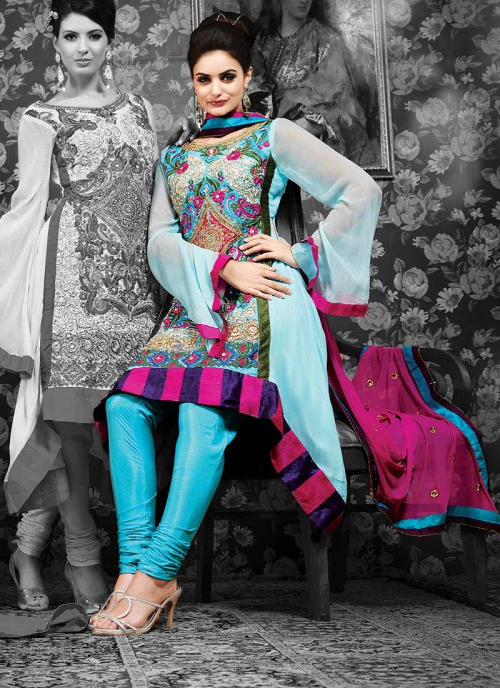 Resham Embroidered Churidar Suit