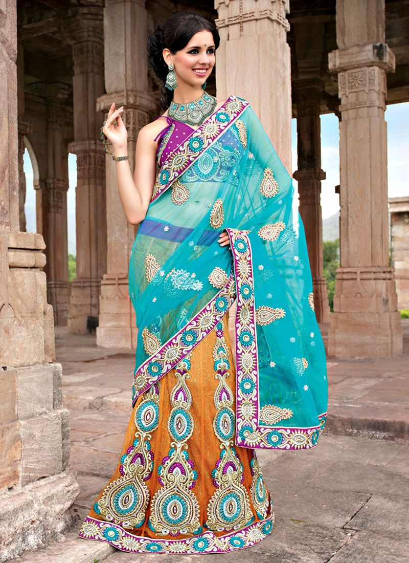 Resham Net Embroidered Lehenga Saree