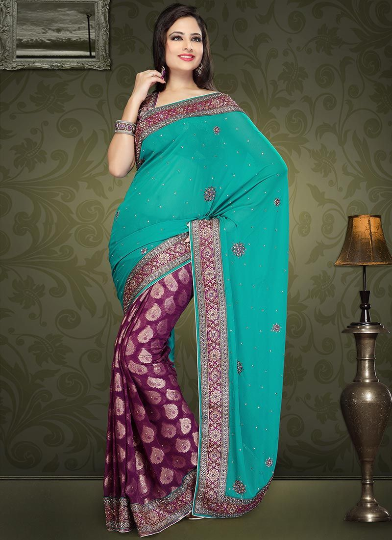 Teal Viscose Half And Half Saree