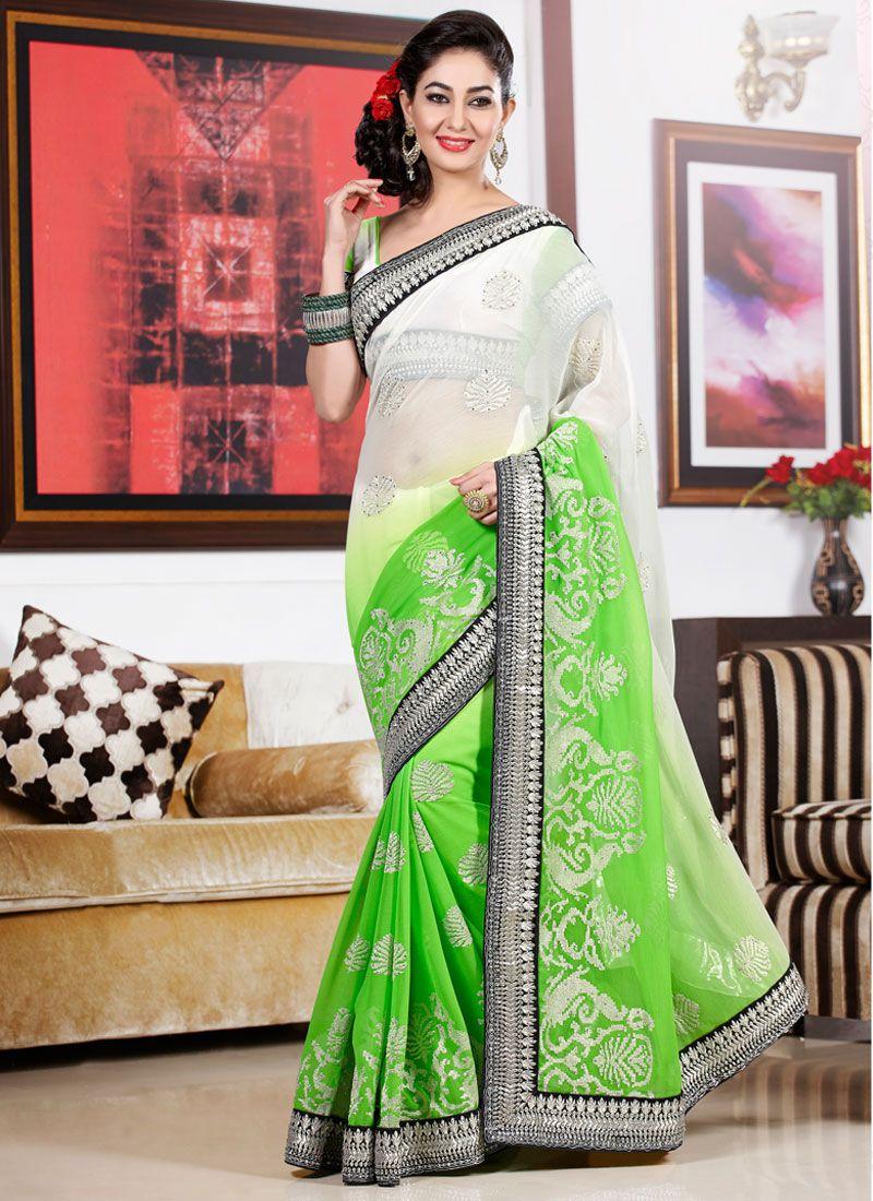 White And Green Resham Work Designer Saree
