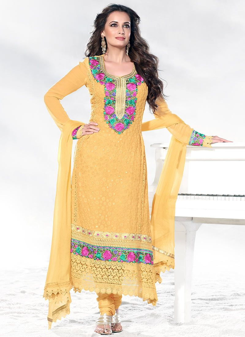 Yellow Dia Mirza Border Work Churidar Suit