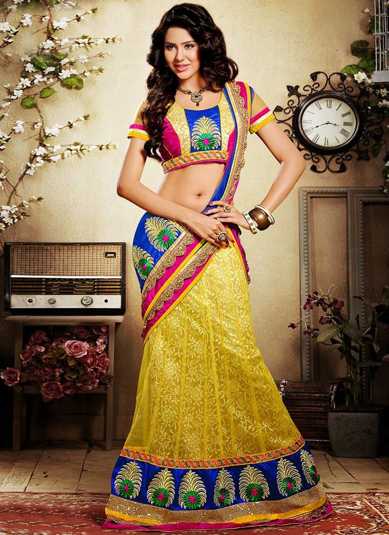 Yellow Jacquard And Net Lehenga Choli
