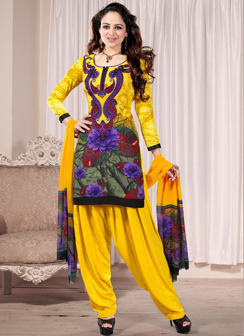 Yellow Printed Crepe Salwar Suit