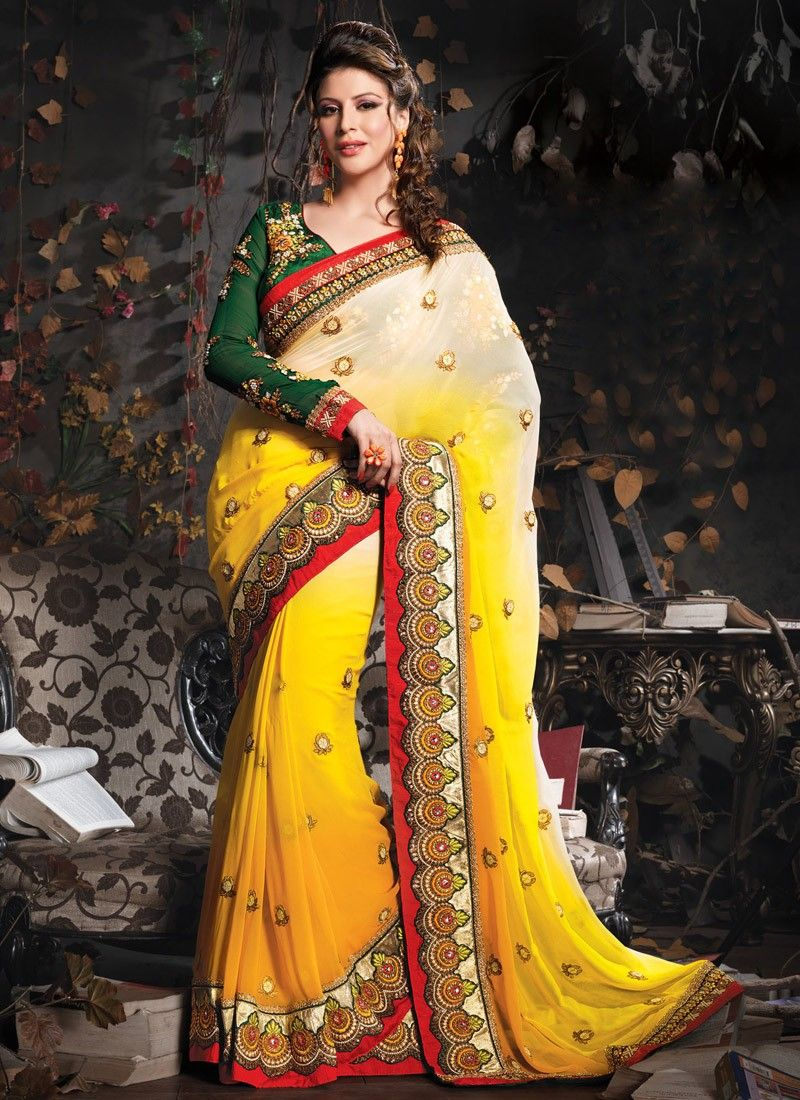 Yellow Viscose Georgette Wedding Saree