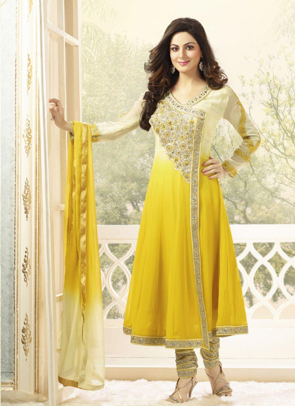Yellow Zari Border Work Anarkali Salwar Suit