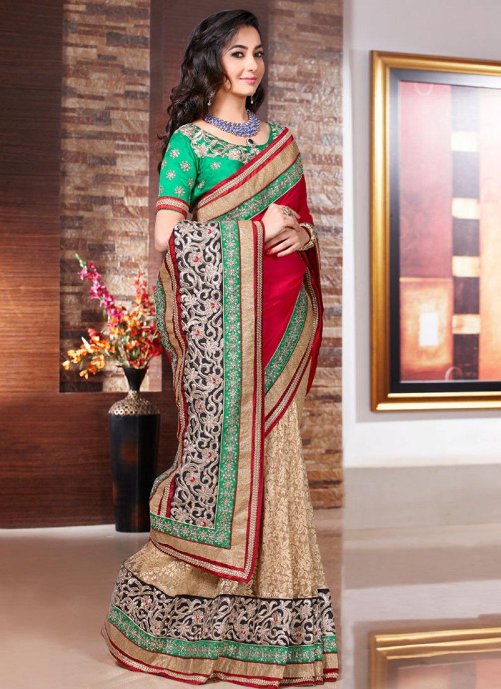 Fabulose Beige And Red Resham Work Designer Saree
