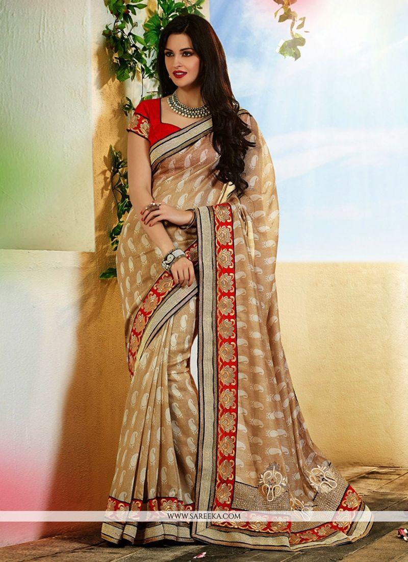 Fabulose Beige Art Silk Designer Saree