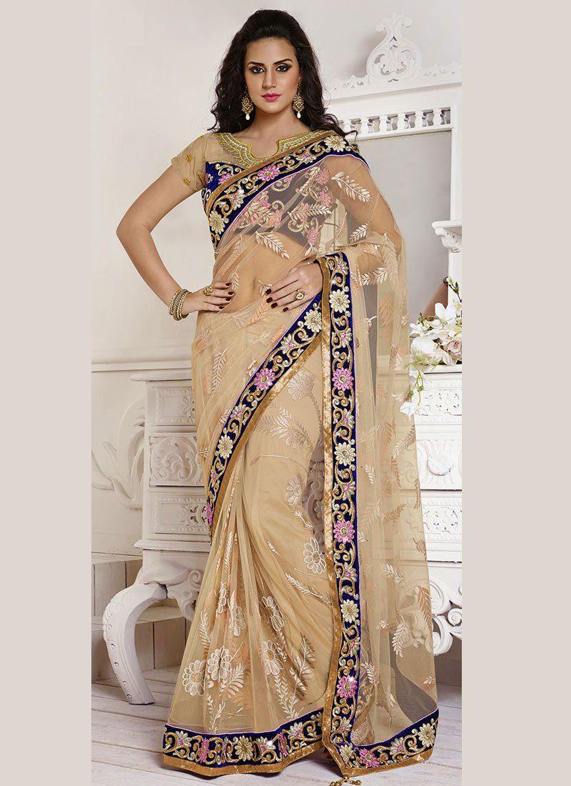 Fabulose Beige Net Designer Saree